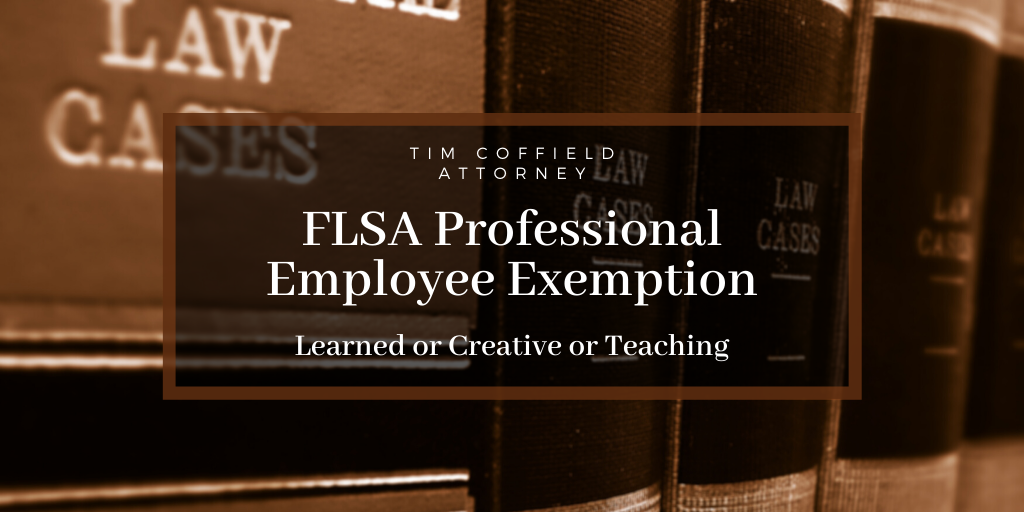 FLSA Professional Employee Exemption: Learned or Creative or Teaching